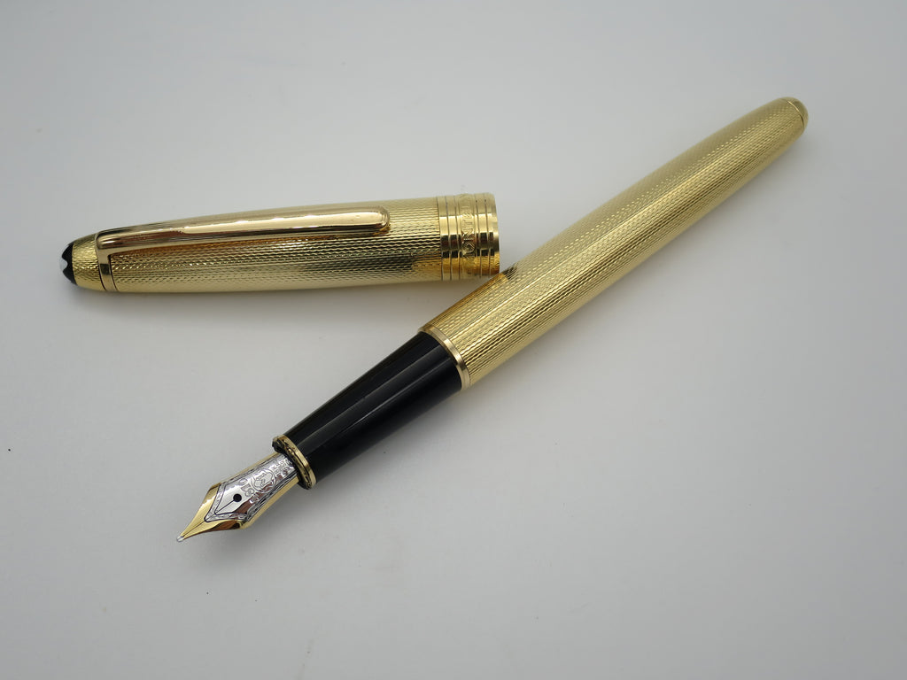 Rare Boxed Mont Blanc Meisterstuck Solitaire 164 Fountain Pen in Gold Barleycorn 18k Gold Nib (Excellent) - Grand Vision Pens UK