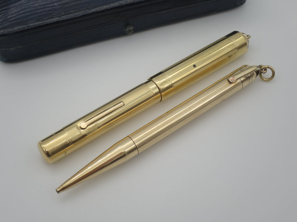 Rare Boxed Antique Gold Swan Fountain Pen & Pencil Set by Mabie Todd (Serviced, Near Mint!) - Grand Vision Pens UK