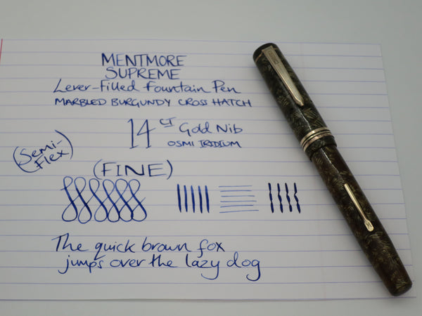 Vintage Mentmore Supreme Lever Filled Fountain Pen 14k Nib Brown Cross Hatch Pattern (Serviced, Very Good) - Grand Vision Pens UK