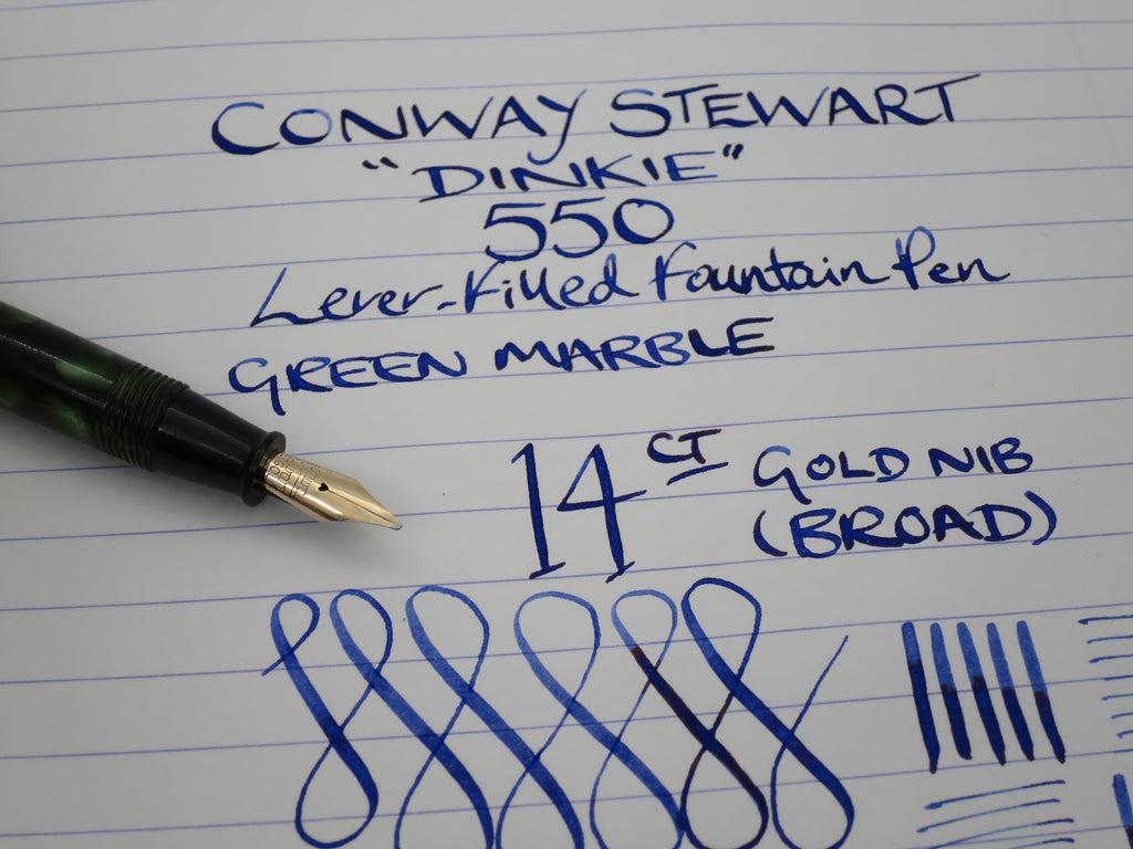 "Vintage Conway Stewart ""DINKIE"" 550 Lever Filled Fountain Pen 14k Semi Flex Nib (Serviced, Very Good Condition) - Grand Vision Pens UK"