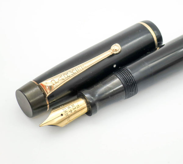 Vintage Parker Victory MKI Button Filled Fountain Pen 14k Gold Stub Nib - Grand Vision Pens UK