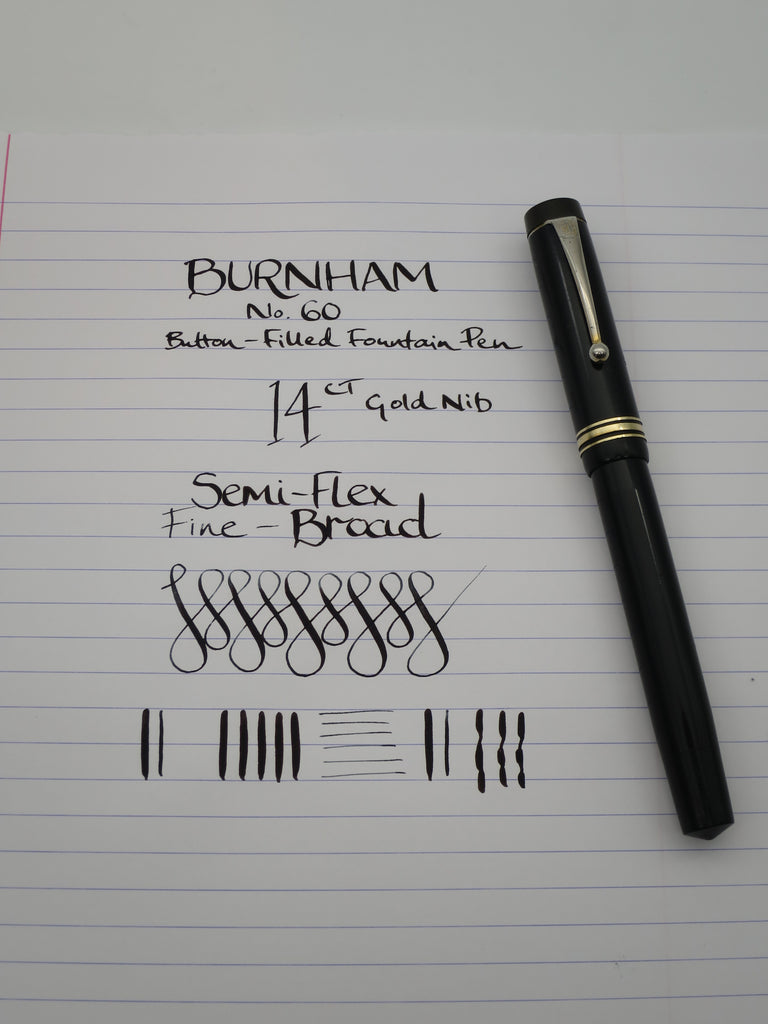 Vintage Burnham No.60 Button Filled Fountain Pen - 14k Gold Semi Flex - (Serviced & Very Good) - Grand Vision Pens UK
