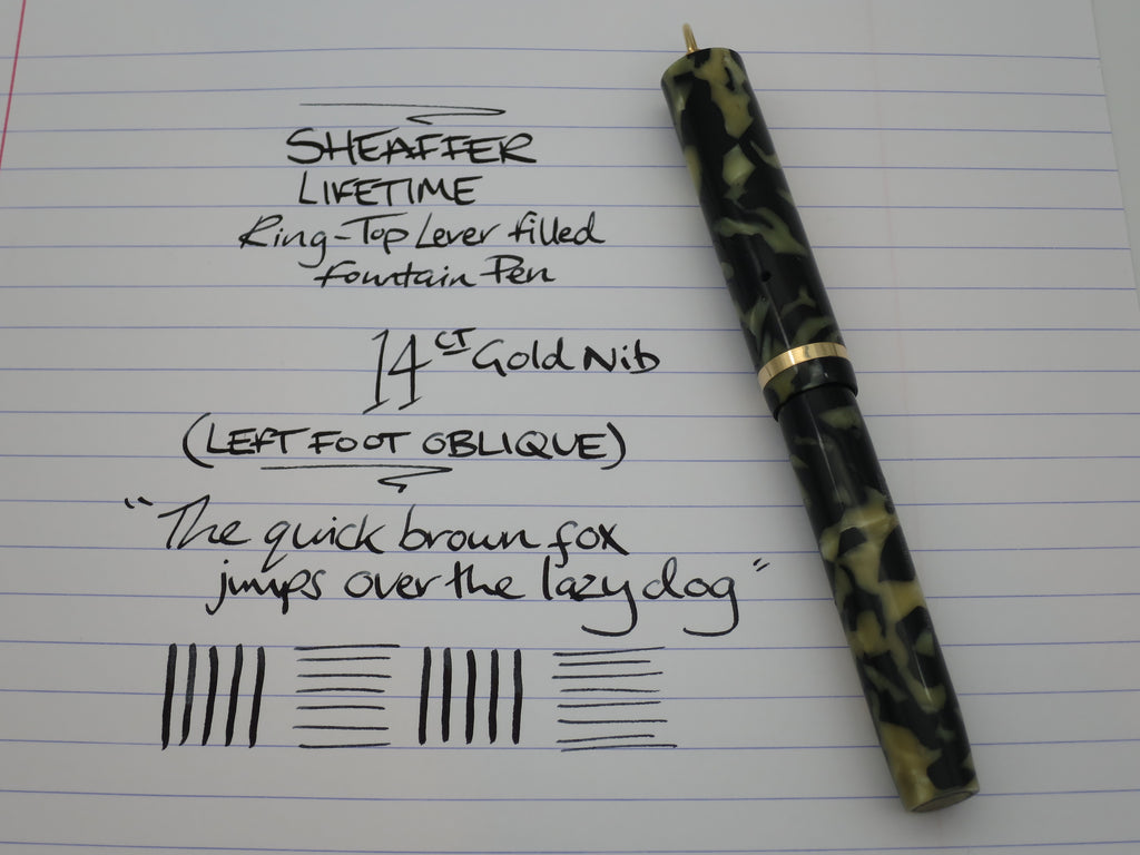 Vintage Sheaffer Lifetime Flat Top Pocket Fountain Pen Marbled Green - Oblique Nib (Serviced & Excellent) - Grand Vision Pens UK