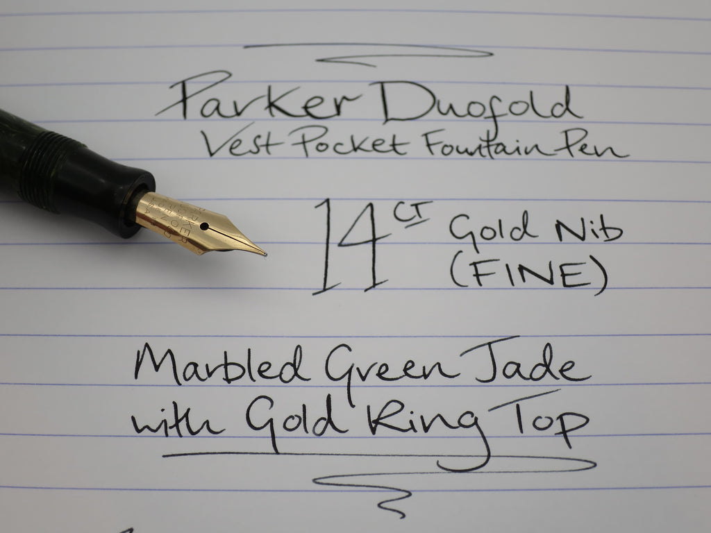 Vintage Parker Duofold Vest Pocket Fountain Pen Marbled Jade Green 14k Gold (F) Nib - (Serviced & Excellent) - Grand Vision Pens UK