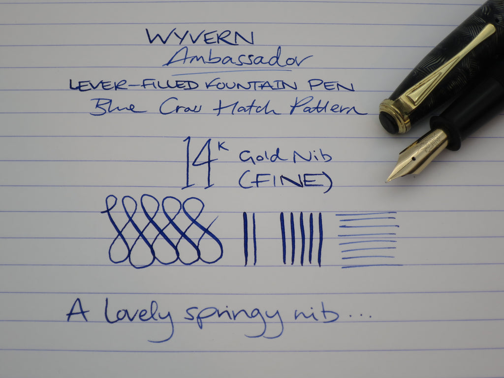 Vintage Wyvern Ambassador Lever Filled Fountain Pen 14k Gold Flex Nib - (Serviced, Excellent) - Grand Vision Pens UK