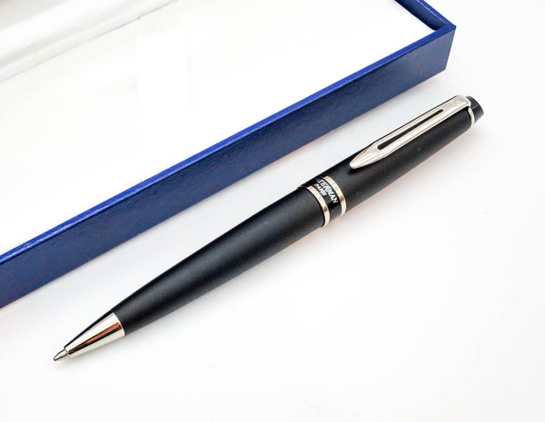 Boxed Waterman Expert Black Chrome Executive Ballpoint Pen - Grand Vision Pens UK