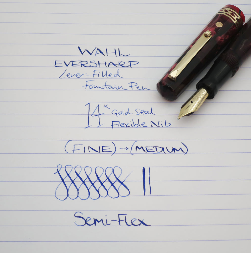 Vintage WAHL Everhsarp DORIC Gold Seal Signature Celluloid Fountain Pen 14k Fine Flex Nib - (Serviced, Excellent) - Grand Vision Pens UK