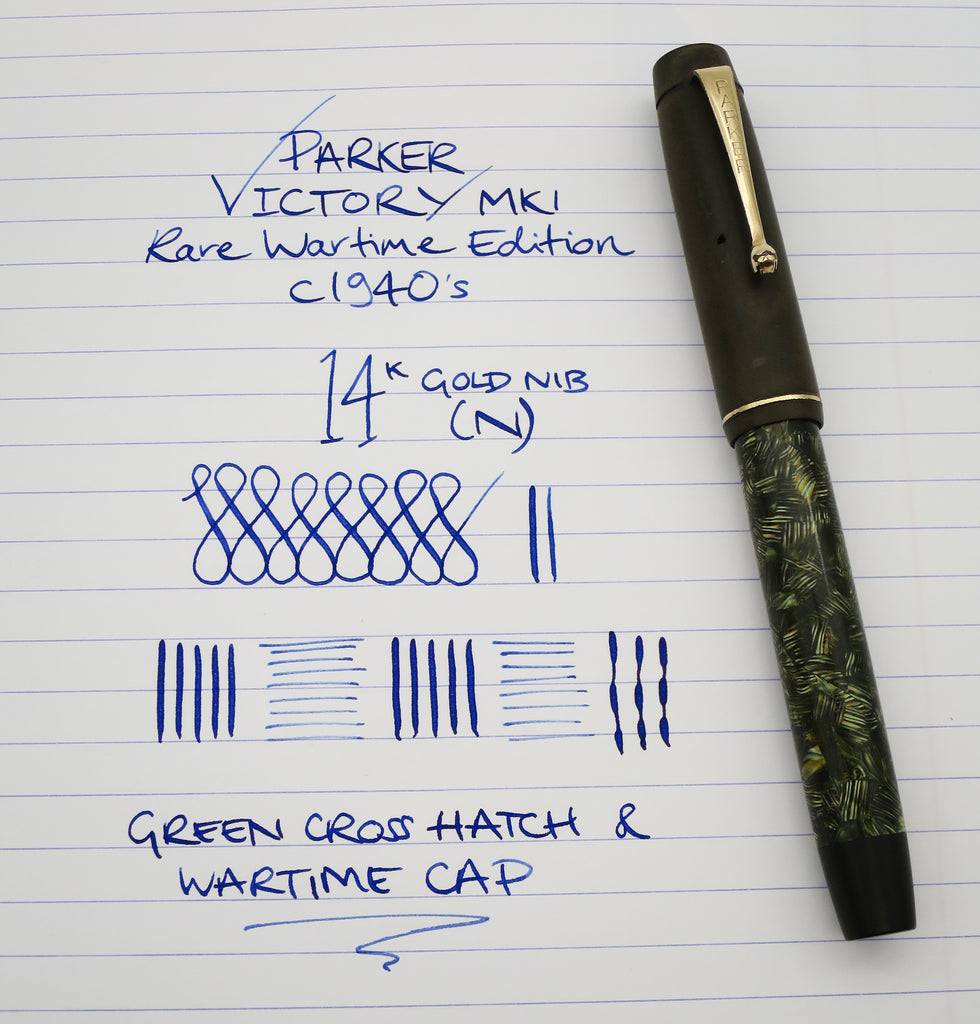 Rare Vintage Parker Victory MK1 Button Filled Wartime Fountain Pen WWII (Serviced, Very Good) - Grand Vision Pens UK