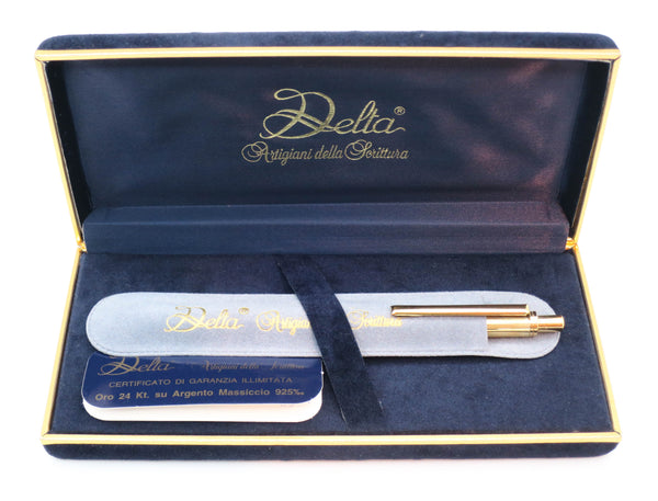Boxed Delta Sterling Silver Gold Plated Ballpoint Pen - Grand Vision Pens UK