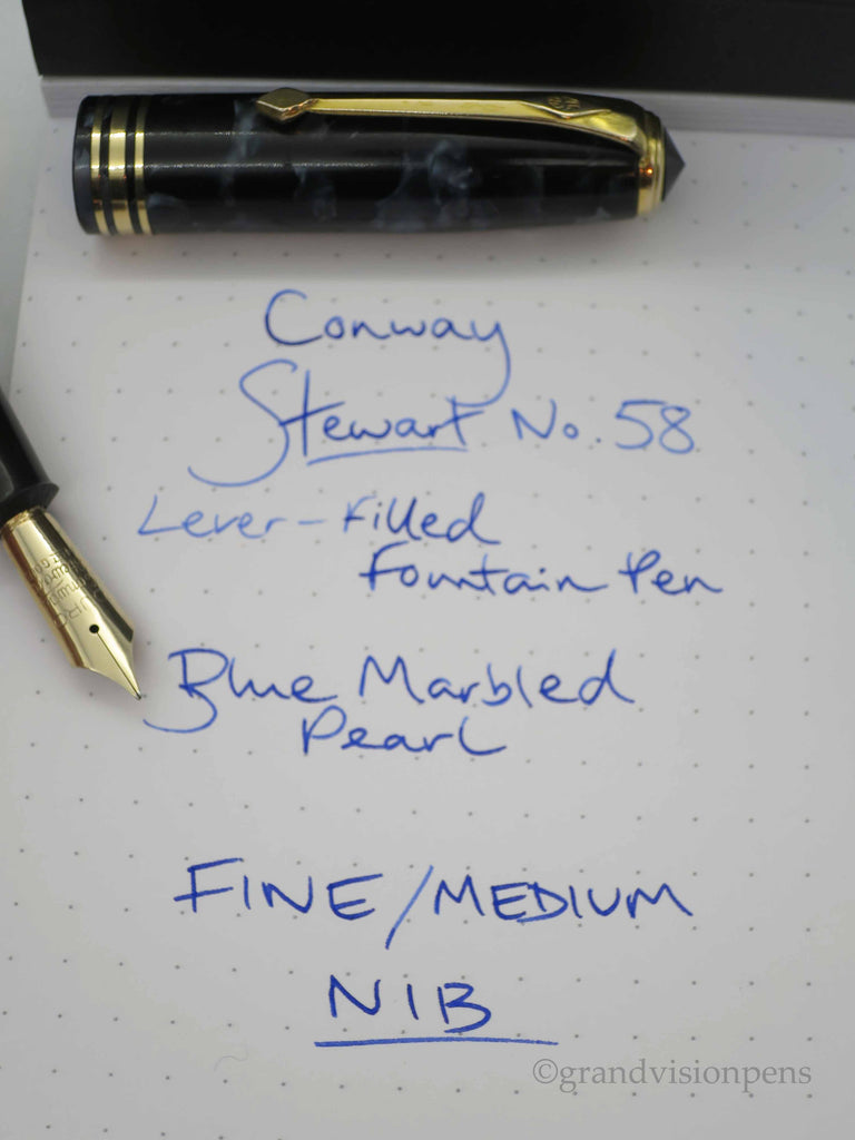 Vintage Conway Stewart No.58 Lever Filled Fountain Pen 14k Gold DURO Nib (Serviced, Very Good) - Grand Vision Pens UK