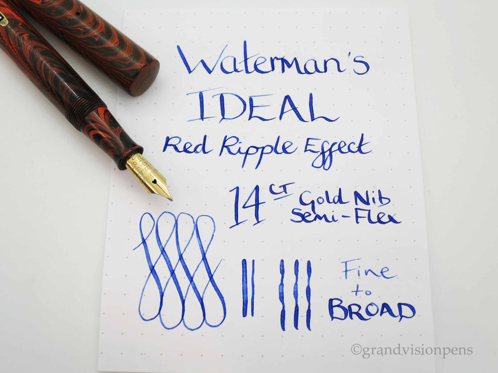 Vintage Waterman 52 Red Ripple Effect Lever Filled Fountain Pen 14k Gold Semi Flex Nib (Serviced, Very Good) - Grand Vision Pens UK