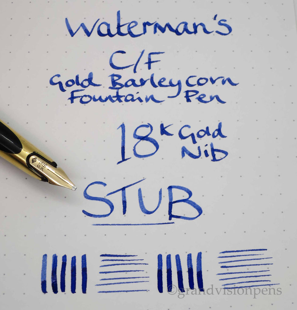 Vintage Waterman C/F Gold ' Barleycorn' Fountain Pen 18k Gold ITALIC  Nib (Serviced, Very Good) - Grand Vision Pens