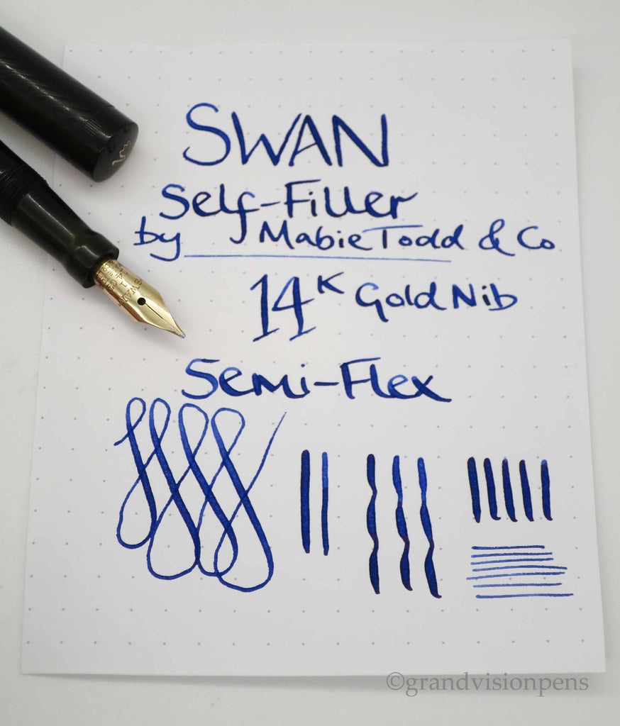 Antique Swan S.F.1 Self Filler by Mabie Todd & Co Lever Filled Fountain Pen 14k Gold Semi Flex Nib (Serviced, Excellent Condition) - Grand Vision Pens