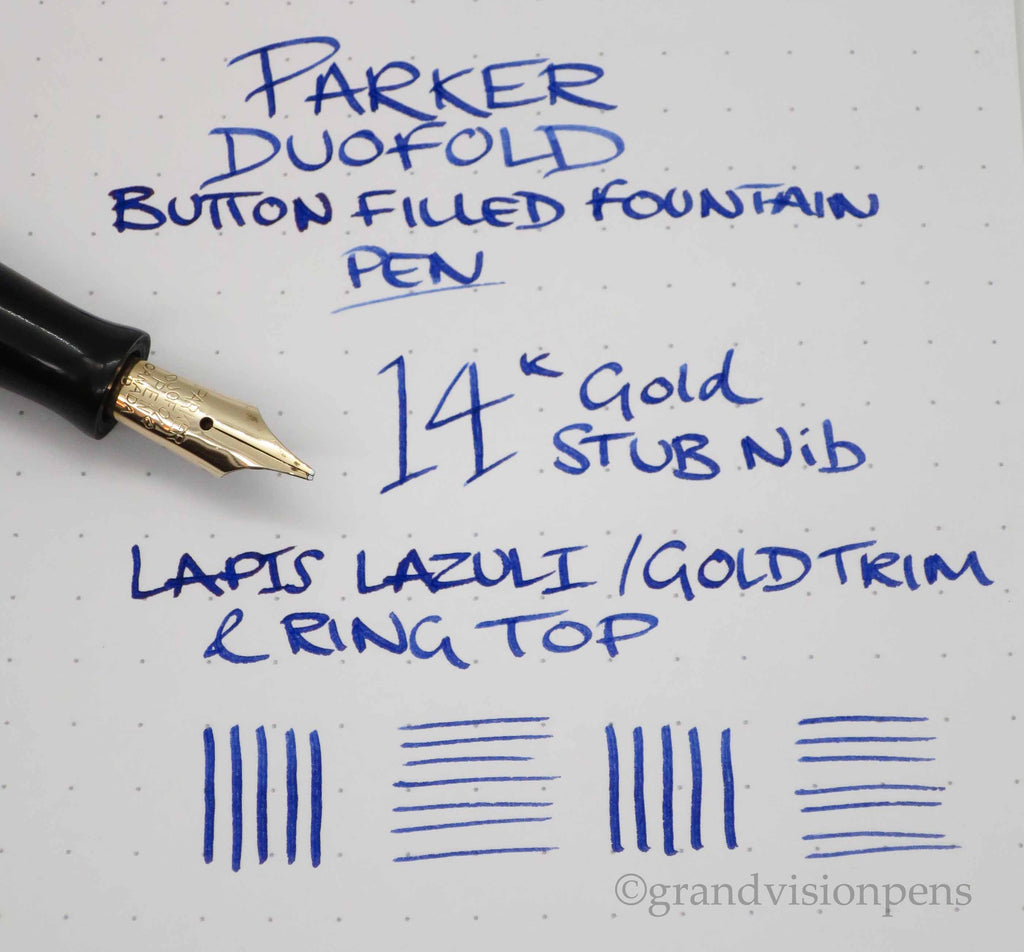Vintage Parker Duofold Button Filled Fountain Pen Lapis Lazuli with Gold Ring Top 14k Gold Oblique Nib - (Serviced, Excellent) - Grand Vision Pens UK