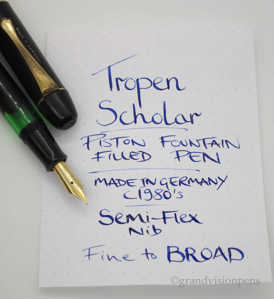 Vintage Tropen Scholar Piston Filled Fountain Pen Green Ink Window & Semi Flex Nib (Serviced, Good Condition) - Grand Vision Pens UK