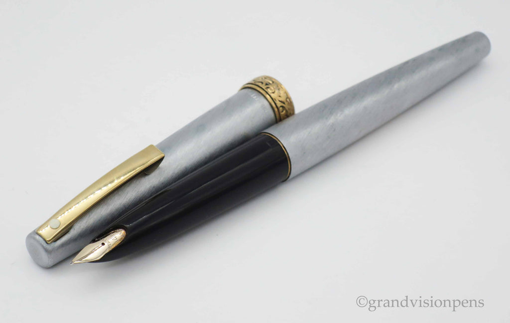 Vintage Lady Sheaffer 620 Brushed Chrome Fountain Pen -  14k Gold Fine Nib (Serviced, Excellent Condition) - Grand Vision Pens UK