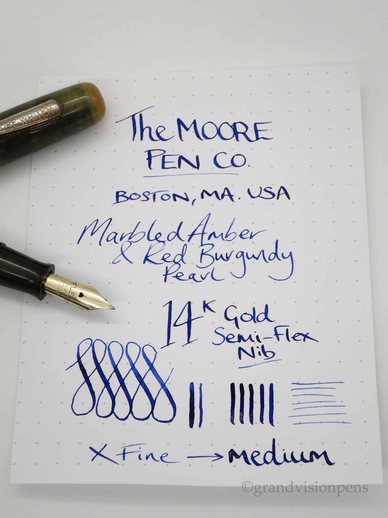 Vintage Lever Filled Fountain Pen by The Moore Pen Co. Boston MA - 14k Gold Flex Nib - (Restored, Excellent Condition) - Grand Vision Pens UK