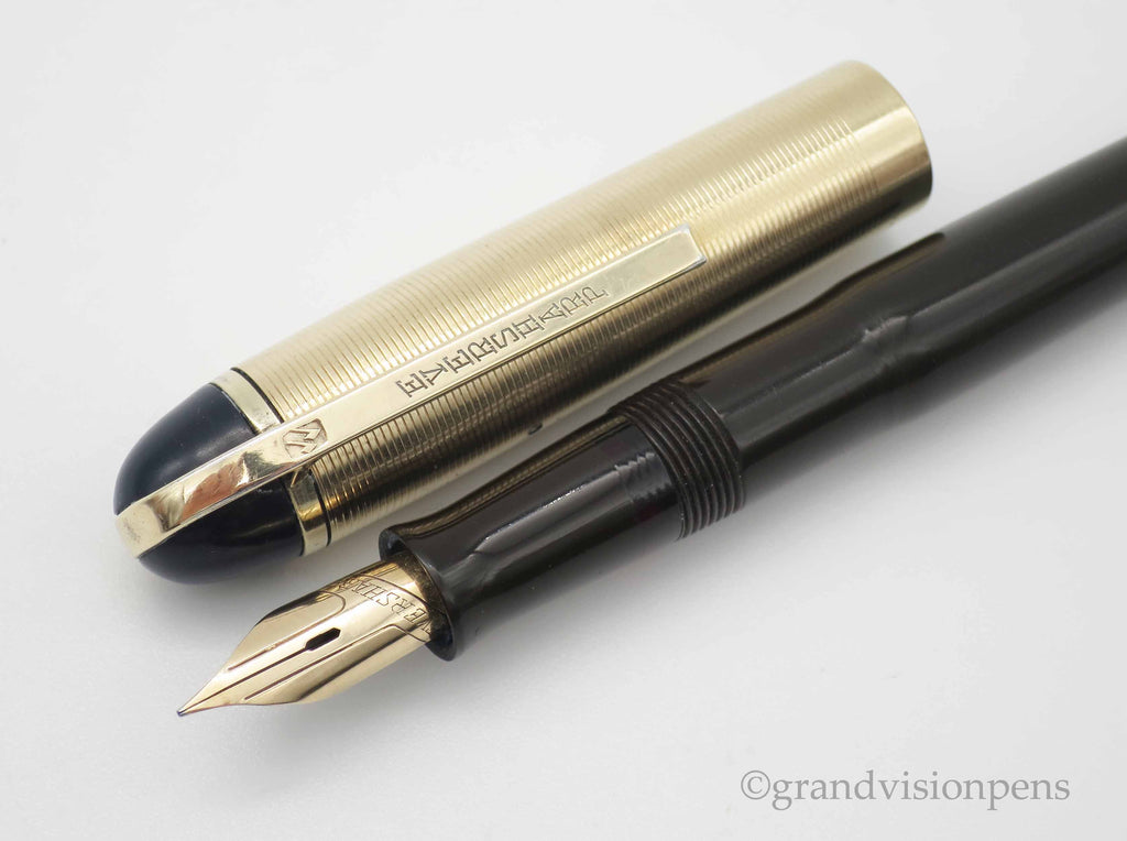 Vintage WAHL Eversharp Skyline Lever Filled Fountain Pen - Brown / Gold with 14k Gold Nib (Serviced, Very Good) - Grand Vision Pens UK