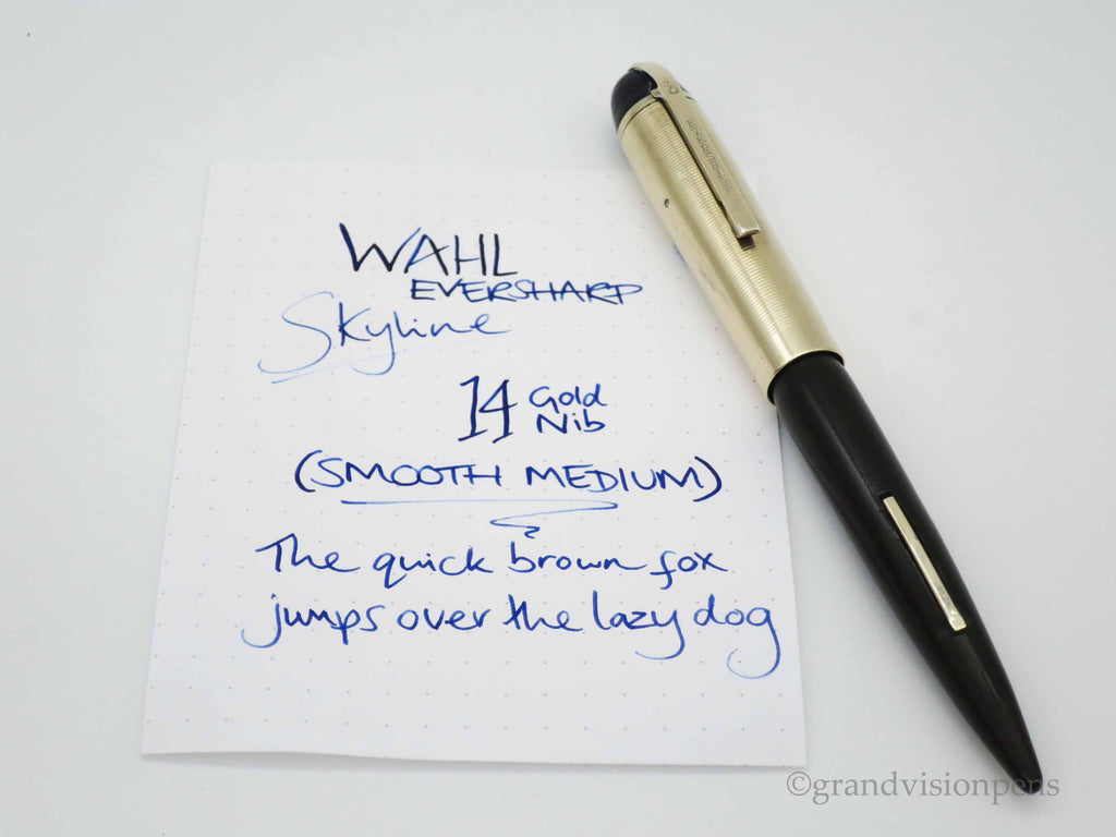 Vintage WAHL Eversharp Skyline Lever Filled Fountain Pen 14k Gold Medium Nib - Grand Vision Pens UK