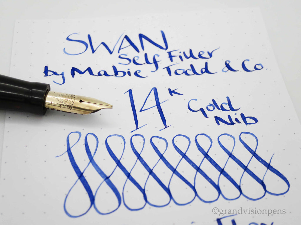 Vintage SWAN Self Filler by Mabie Todd & Co -14k Gold Italic Flex Nib (Serviced, Very Good Condition) - Grand Vision Pens UK