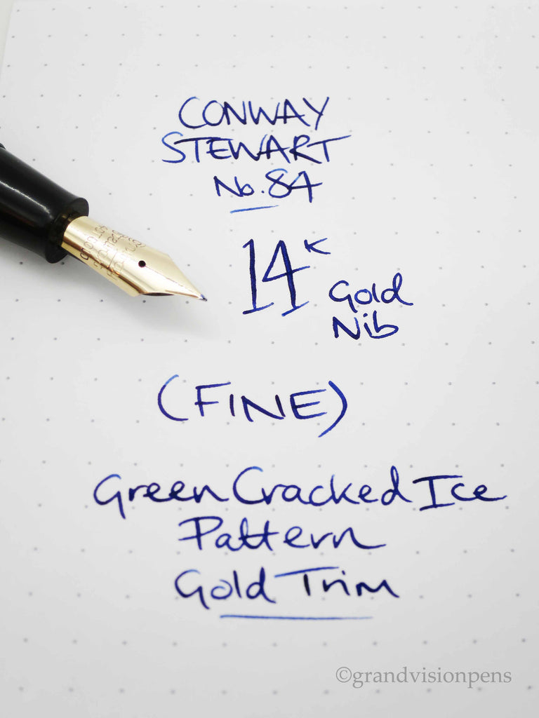 Vintage Conway Stewart 84 Lever Filled Fountain Pen Green Crack Ice Pattern - (Serviced, Very Good Condition) - Grand Vision Pens UK