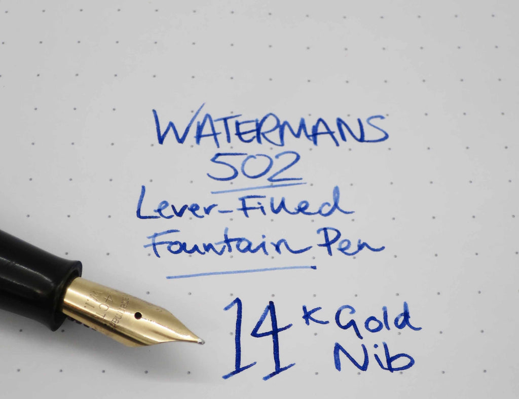 Vintage Waterman's 502 Lever Filled Fountain Pen Striated Blue Marble 14k Gold Nib (Serviced, Very Good Condition) - Grand Vision Pens