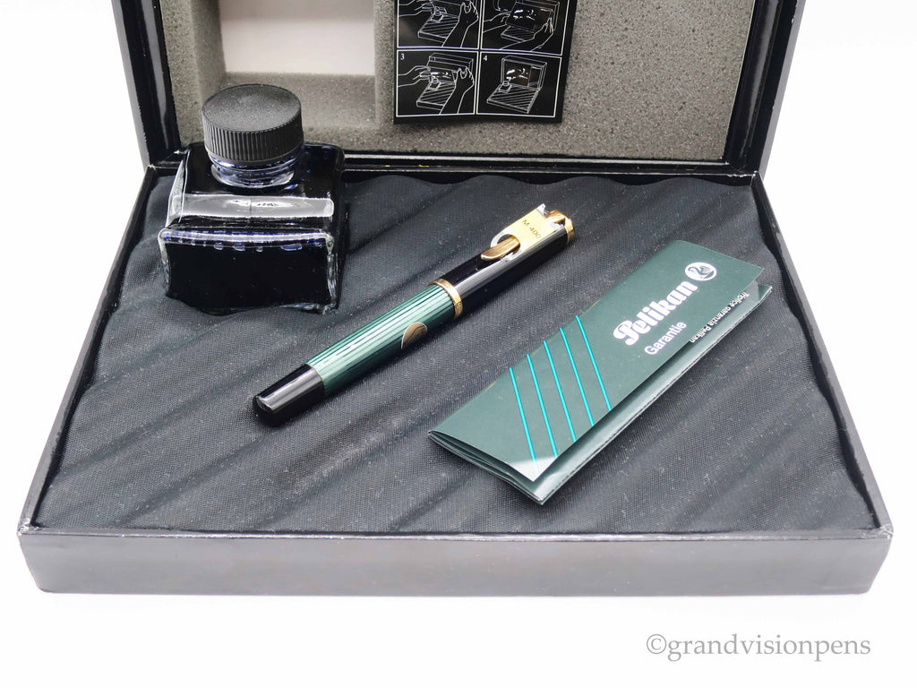 Boxed Vintage Pelikan M400 Piston Filled Fountain Pen 14k Gold Broad Nib - c1980's W.Germany (Near Mint Condition) - Grand Vision Pens UK