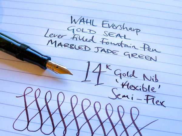 Vintage WAHL Eversharp Gold Seal Decoband Fountain Pen 14k Gold Flex Nib - Grand Vision Pens UK