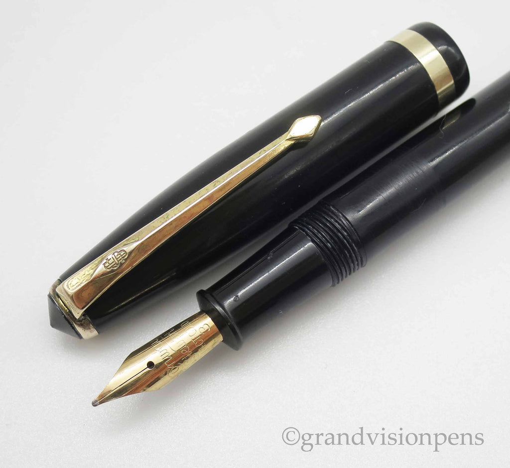 Vintage Conway Stewart 85L Lever Filled Fountain Pen 14k Gold Semi Flex Nib (Serviced, Very Good) - Grand Vision Pens UK