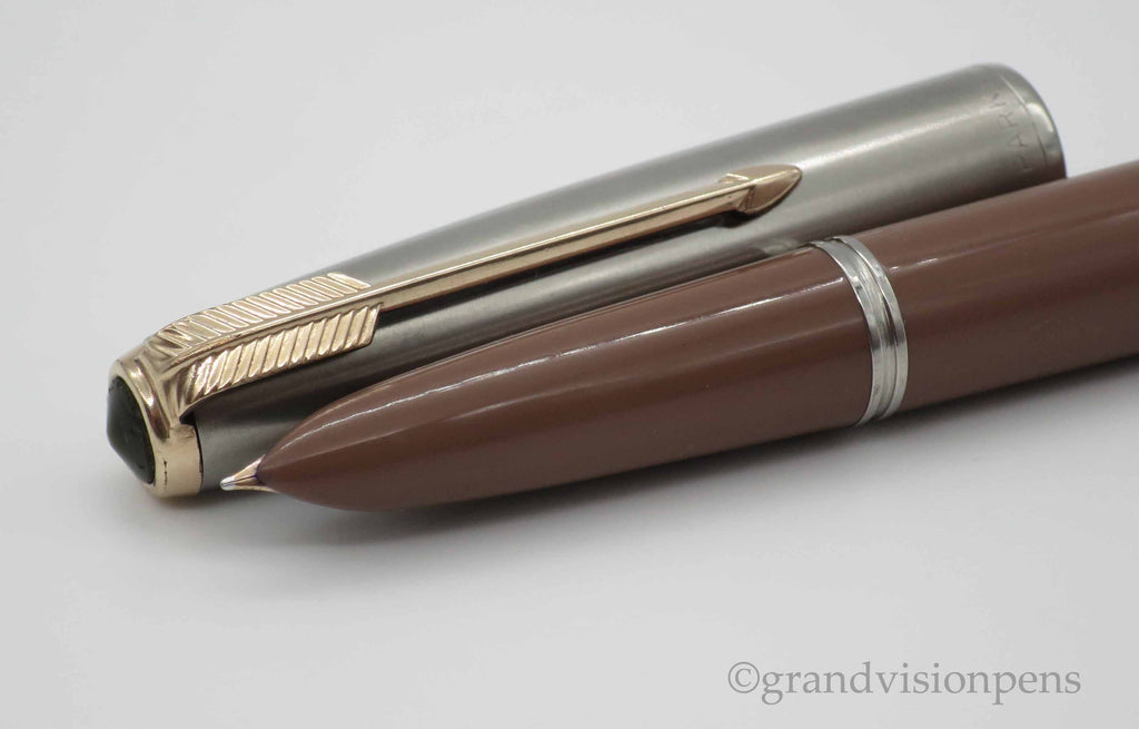 Vintage Parker 51 Aerometric Fountain Pen Cocoa Brown FINE Nib (Restored, Near Mint) - Grand Vision Pens UK