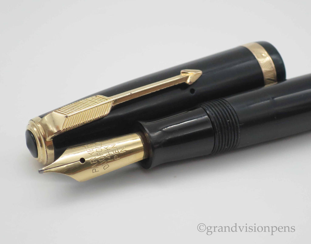 Vintage Parker Duofold AF Button Filled Fountain Pen 14k Gold Medium Nib (Restored, Excellent) - Grand Vision Pens UK