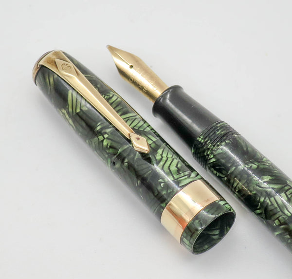 Vintage Conway Stewart No.27 Lever Filled Fountain Pen 14k Gold Stub Nib - Grand Vision Pens UK