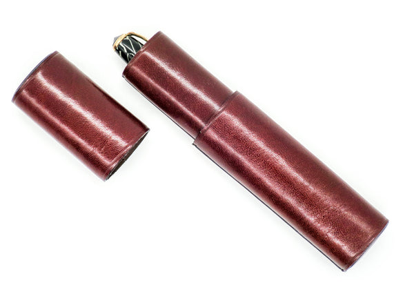 Luxury Leather Single Pen Pocket Case: Tobacco Brown - Grand Vision Pens UK