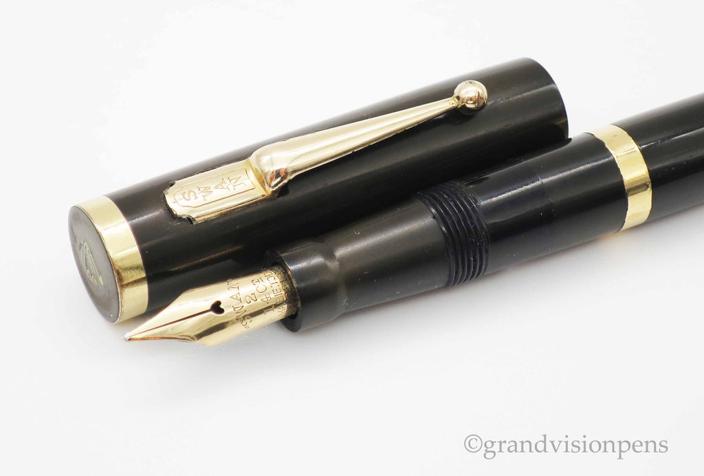 Rare Vintage SWAN Self Filled Fountain Pen by Mabie Todd 14k Gold Semi Flex Nib (Restored, Excellent) - Grand Vision Pens UK
