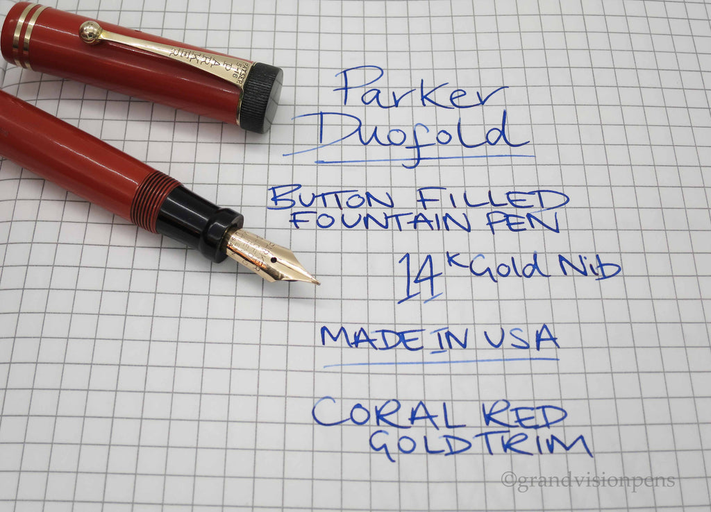 Vintage Parker Duofold Senior 'BIG RED' Fountain Pen - Grand Vision Pens UK
