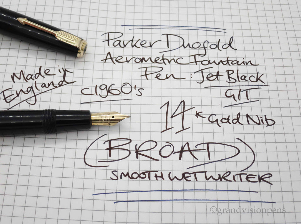 Vintage Parker Duofold Aerometric Fountain Pen - 14k Gold BROAD Nib - (Serviced, Excellent) - Grand Vision Pens UK