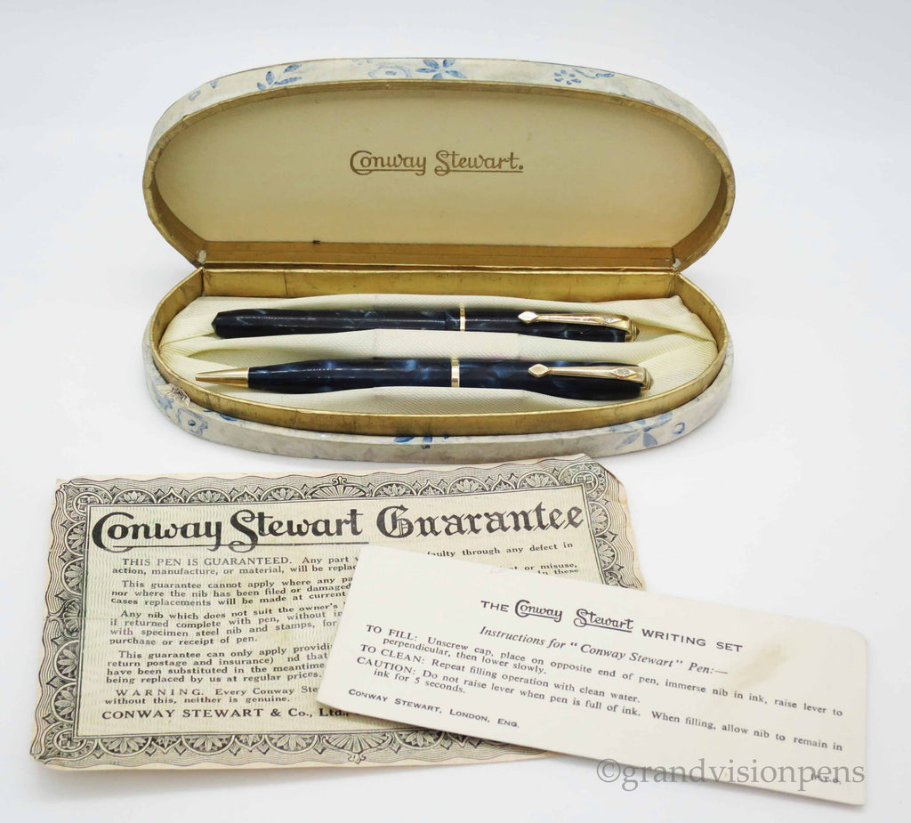 Boxed Vintage Conway Stewart Dinkie Fountain Pen & Pencil Set (Serviced, Excellent) - Grand Vision Pens UK