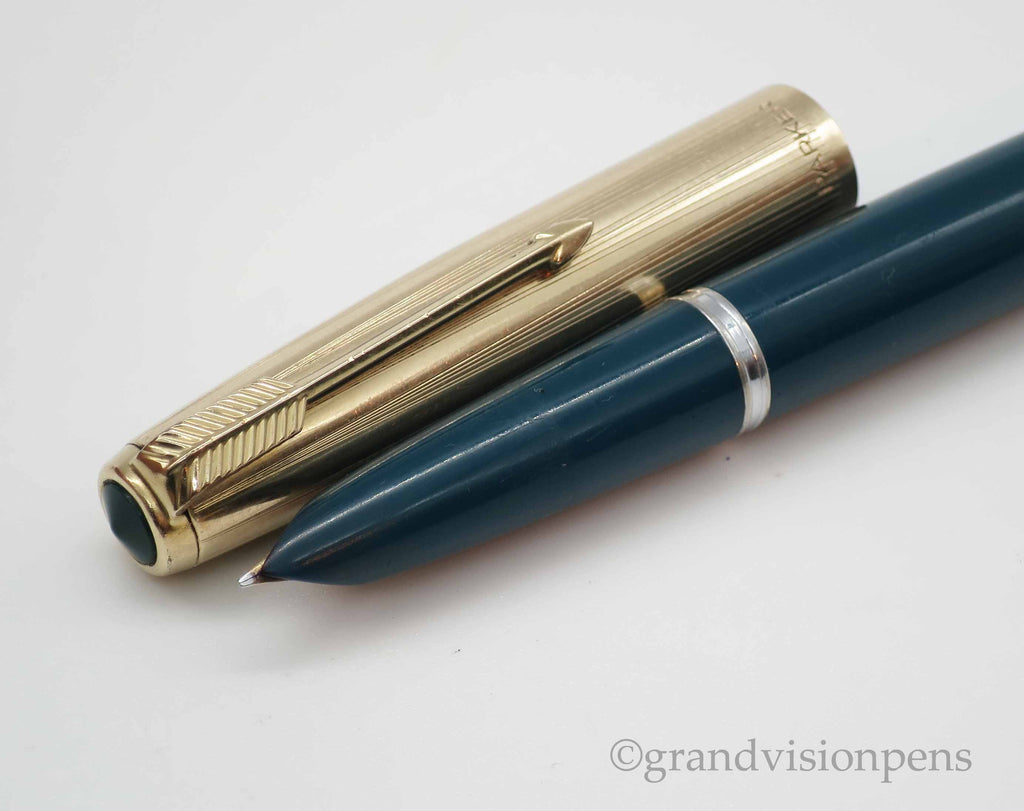 Boxed Vintage Parker 51 Fountain Pen & Pencil Set Teal Blue / Rolled Gold Caps (Serviced, Excellent) - Grand Vision Pens UK