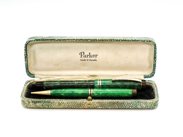 Parker Duofold Fountain Pen & Propelling Pencil 14k Gold Fine Nib - Grand Vision Pens UK