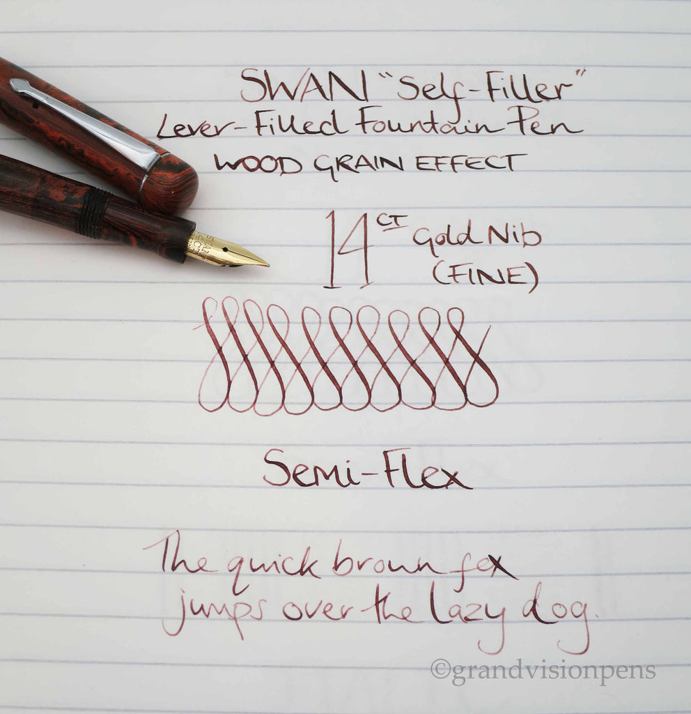 Vintage SWAN S.F 1 Self Filler Fountain Pen 14k Gold Fine Semi Flex Nib (Restored) - Grand Vision Pens UK
