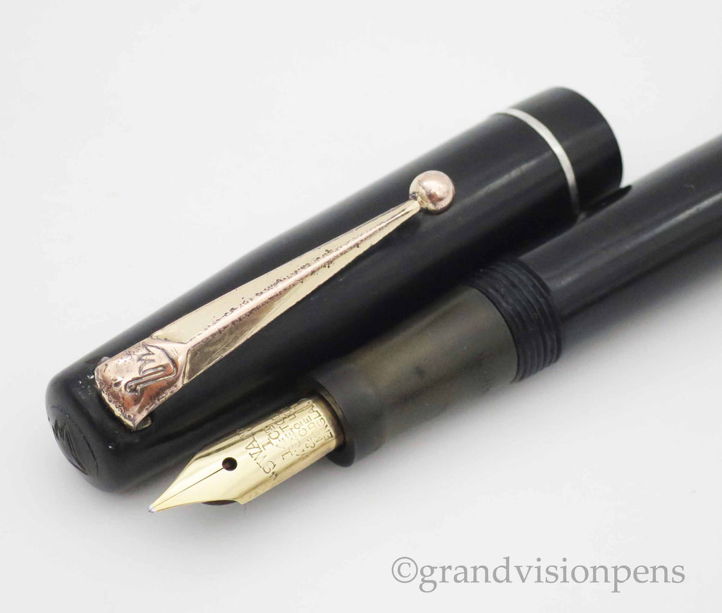 Vintage SWAN Self Filler Fountain Pen by Mabie Todd 14k Gold FINE Semi Flex Nib (Serviced, Very Good) - Grand Vision Pens UK
