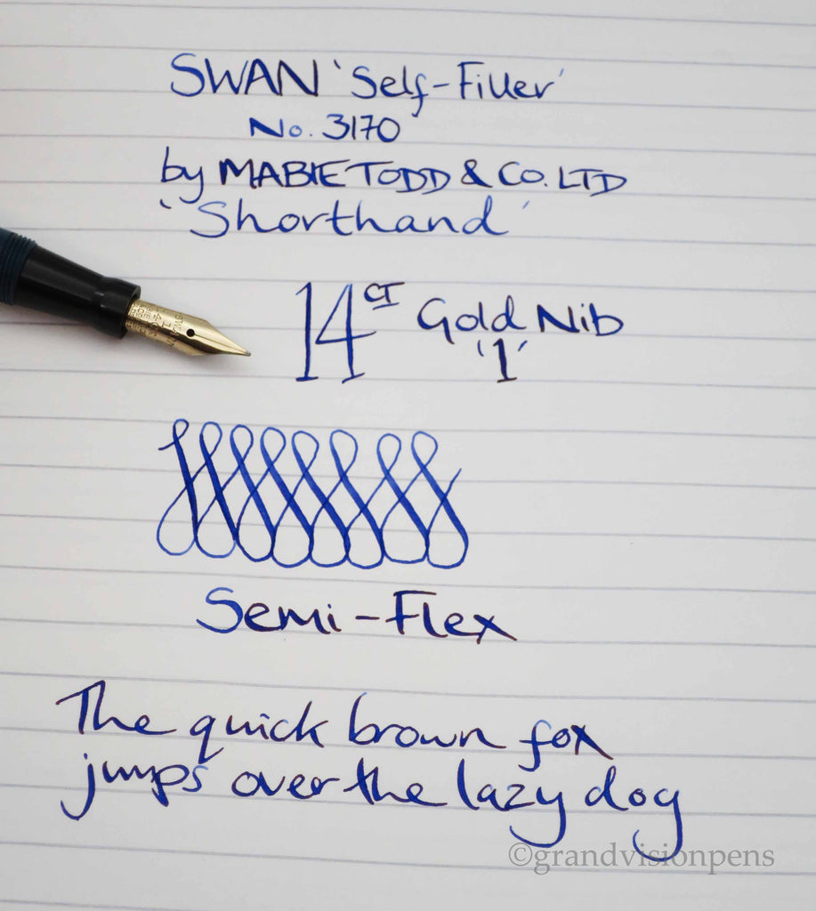 Boxed Vintage SWAN 'Shorthand' Self Filler Fountain Pen by Mabie Todd No.3170 14k Gold Semi Fine Flex Nib (Serviced, Near Mint) - Grand Vision Pens UK