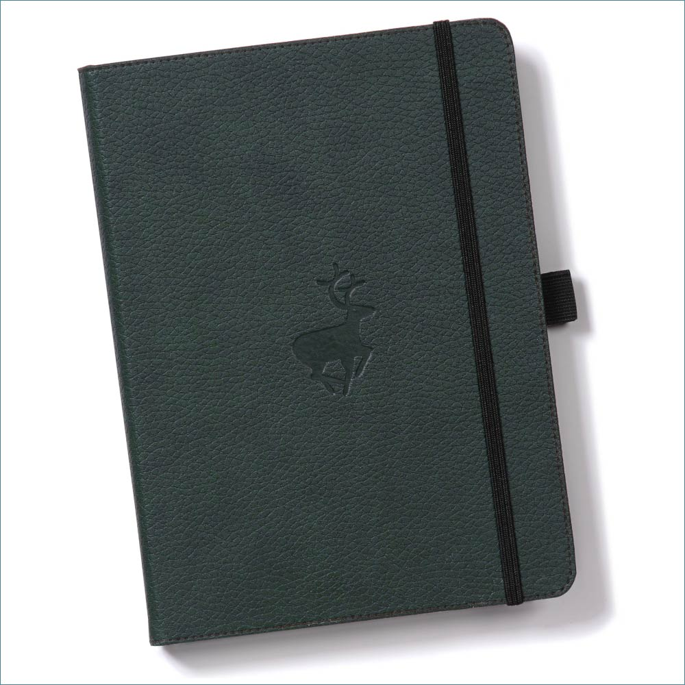 Dingbats* Wildlife Dotted A4 Notebook: Green Deer - Grand Vision Pens UK
