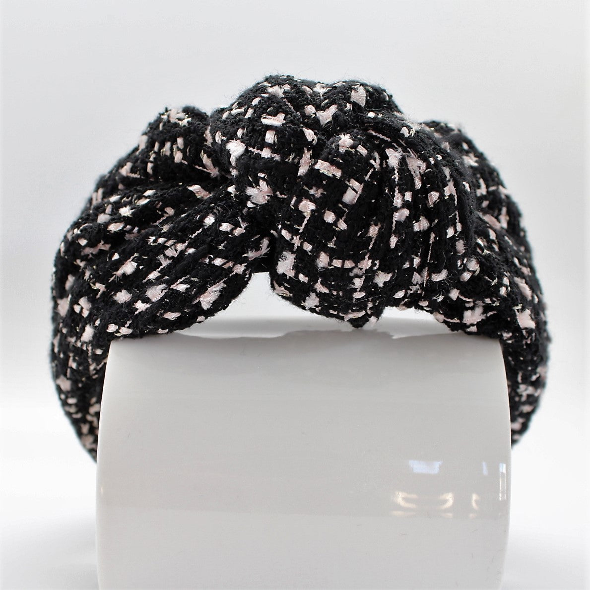 Black and White Tweed Knotted Headband