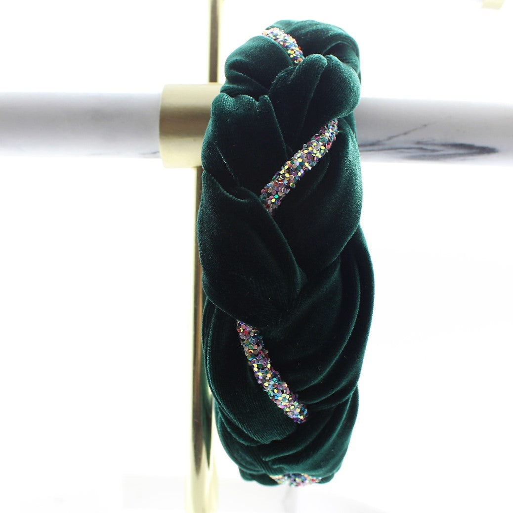 Green Velvet and Rhinestones Headband