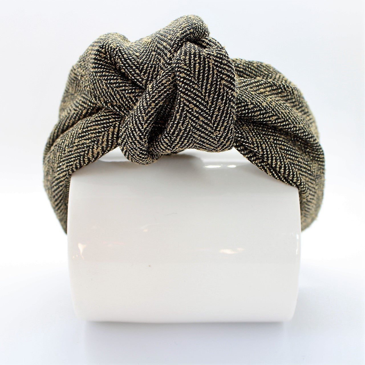 Herringbone Black and Gold Knotted Headband