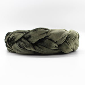 Olive Green Velvet Braided Headband