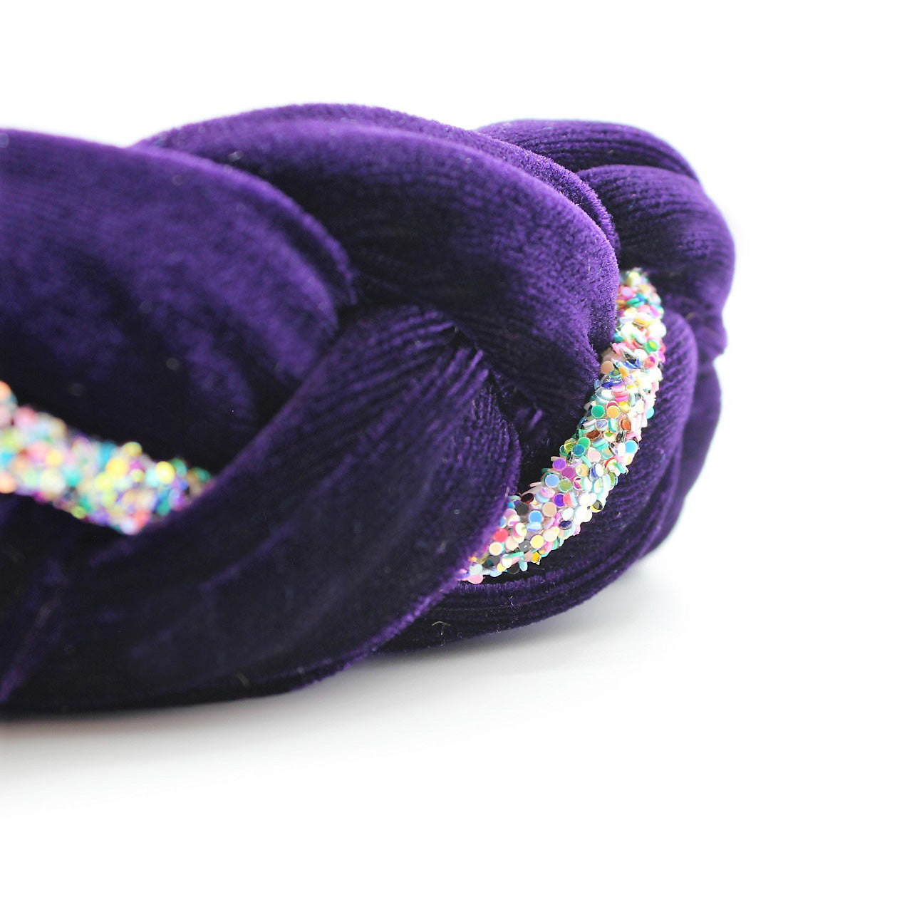 Purple Velvet and Rhinestones Headband