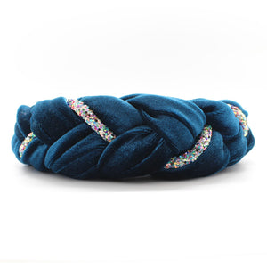 Teal Velvet and Rhinestones Headband