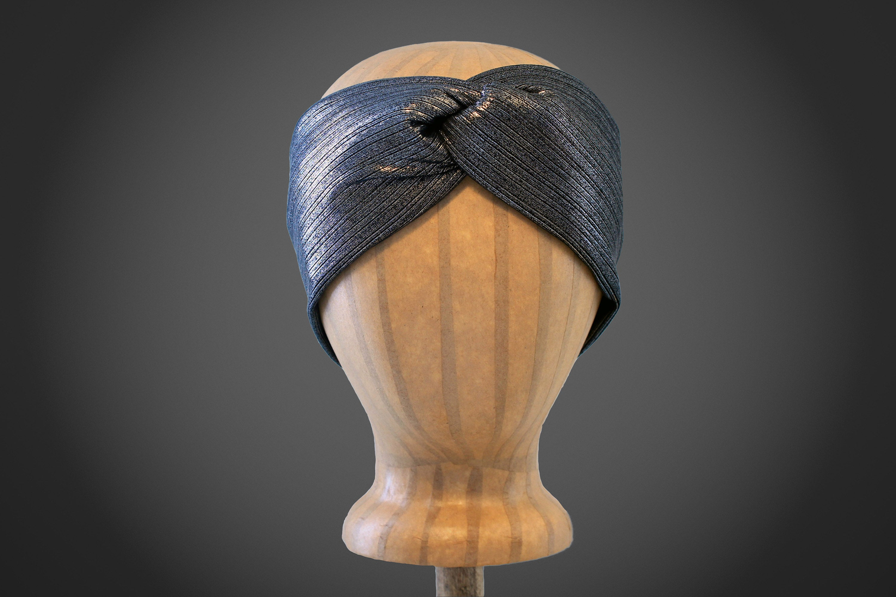 Arkward_black_shimmer_woman_turban_headband